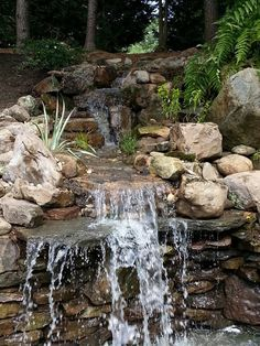 Waterfall created by Hoaglandscape in Belmont, NC. #WaterfallWednesday