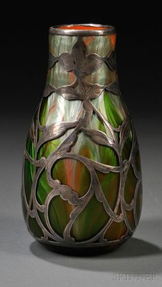 Loetz Titania Metal Overlay Vase   Art glass and sterling   Austria, c. 1906