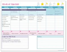 This weekly planner sheet is perfect. You can even download an excel spreadsheet to customize.