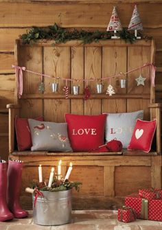 Rustic home ready for Valentines Day. I need the red boots!