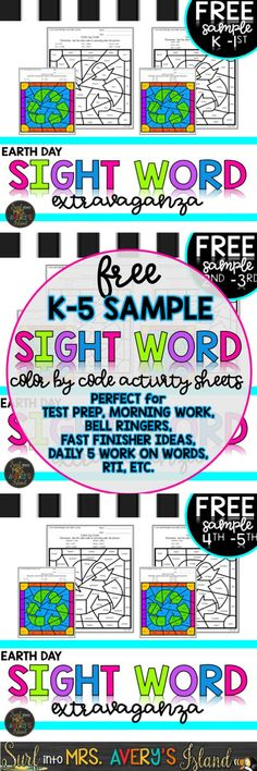 This FREE sample of K-5 Earth Day Sight Word printalbes comes from my K-5 Earth Day Sight Word Extravaganza Bundle! Super FUN for kids, NO PREP for teachers, DIFFERENTIATED for students, and GUARANTEED to increase reading fluency and comprehension skills. Click the link and discover the ease of crossing the curriculum and integrating them into your social studies and reading lesson plans during the month of April.
