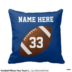 Football Throw Pillows in Your Team or Room  COLORS and Your TEXT. HERE: http://www.zazzle.com/football_pillows_your_team_colors_and_text-189849146959440170?rf=238147997806552929 Change the blue and white football colors to any colors: see INSTRUCTIONS. Personalized Football Team Gifts, Senior Night Football Gifts and Football Room Decor. HERE: http://www.zazzle.com/littlelindapinda/gifts?cg=196532339247083789&rf=238147997806552929 CALL Linda to HELP you personalize it: 239-949-9090