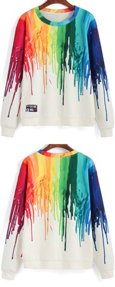 Finally i know how to dress for my coming spring school season! This pullover sweatshirt can be a good look for the first day !The multicolor ink print is so cool!