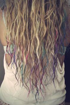 Dip dyed beach hair