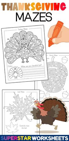 Thanksgiving Mazes & Activity Pages