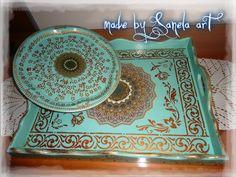 komplet metalna i drvena tacna decoupage, bajramska hedija (poklon) sanela art
