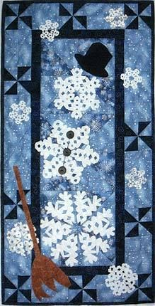 "SEW MANY FLAKES...SNOW FEW MEN! 16 X 32"" Quilt Pattern, Snowflake Snowman 