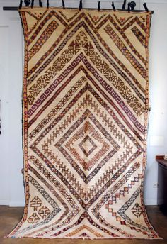 Loving up the amazing nested diamond pattern in this Moroccan rug from Red Thread Souk.  Each diamond is made up of its own pattern. INCREDIBLE. Tribal design, bohemian design, ethnic design, decorating