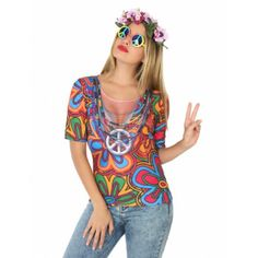 Hippie t-shirt for women: This printed t-shirt is for women. (Only the t-shirt is included.) It has colourful psychedelic prints and a large neckline on the front with multicoloured jewellery.The t-shirt is printed on the. 70s Outfits, Hipster Outfits, Themed Outfits, Hippie Style, T-shirt Hippie, Moda Hippie, Hippie Chic, Costume Hippie, Modest Halloween Costumes