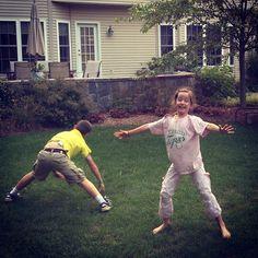 Cartwheeling in the backyard. I Spy OmniPod #bigbluetest