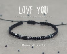 Love You - Personalized Mens Bracelet, Morse Code Bracelet, Personalized Jewelry, Anniversary gifts for men, Gifts for boyfriend Boyfriend Anniversary Gifts, Boyfriend Gifts, Bf Gifts, Happy Anniversary, Gifts For Husband, Gifts For Family, Morse Code Bracelet, Handmade Items, Handmade Jewelry