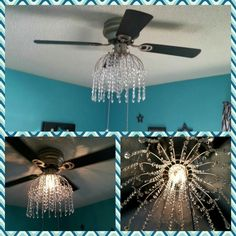 Chandelier for ceiling fan made using fruit basket and acrylic crystal pieces
