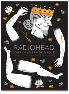 Radiohead King on Limbs Poster by Tad Carpenter a designer, illustrator, author and teacher based in Kansas City, Missouri. Tour Posters, Band Posters, Music Posters, Music Artwork, Art Music, Music Life, Radiohead Poster, King Of Limbs, Pop Rock