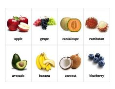3 pages fruits flashcards with real pictures print two for match fun. Speech Pathology, Speech Therapy, Preschool Worksheets, Classroom Activities, Group Meals, Food Groups, Thematic Units, Banana Coconut, Dramatic Play