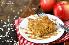 Apple Oatmeal Bars with Cinnamon Caramel Sauce from afarmgirlsdabbles.com