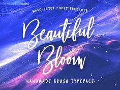 Beautiful Bloom - Free Brush Font on Behance Free Cursive Fonts, Handwritten Script Font, Typography Fonts, Hand Lettering, Font Free, Lettering Styles, Lettering Tutorial, Serif Font, Calligraphy Fonts