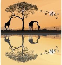 Savana with giraffes vector
