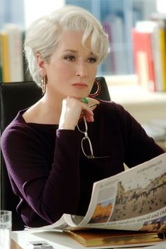 This is the only way I will go completely grey/white, if I can look this good!  Meryl Streep as Josephine Crawford