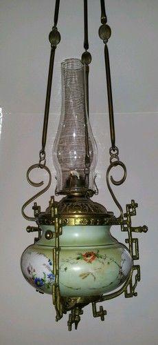 Sale Antique Handpainted Glass Brass Hanging Oil Lamp Dragonflies | eBay