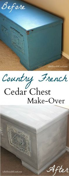 Country French Cedar Chest Make-Over with Americana Decor Chalky Paint.