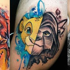 Nala is a lioness who appears in Disney's The Lion King franchise. Simba is the main character of Disney's The Lion King franchise. Below, we are going to mention Simba and Nala tattoo ideas. 90s Tattoos, Tatuajes Tattoos, Cartoon Tattoos, Body Art Tattoos, Sleeve Tattoos, Simba E Nala, Nala Lion King, Lion King Art, 90s Baby Tattoo
