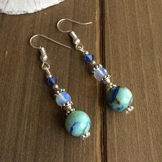bead dangle earring blue blue agate beads mourning gift healing jewelry guardian angel Angel charm earrings