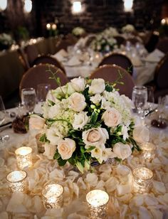 Wedding Flowers Ideas: Wedding Flower Centerpiece Beautify the Wedding Table White Wedding Flower Arrangements, White Wedding Flowers, Floral Wedding, Wedding Colors, Wedding Bouquets, Wedding Flower Centerpieces, Wedding Ideas, Green Wedding, Low Centerpieces