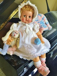 "Vintage 1940 1950 RARE Arranbee R&B Angel Baby Doll 23"" Caracul Fur Wig Hair #RB"