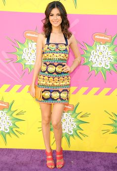 Week of 3/25/13 #1 Victoria Justice- Designer: Pia Pauro~ She looked ready for spring in this dress at the Kid's Choice Awards! I love the bright colors and her accessories.