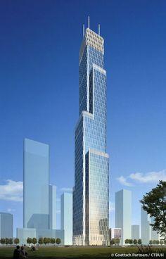 R&F Guangdong Building,  Tianjin-China, 468 m, UC, architect-Goettsch Partners/ECADI
