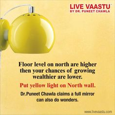 Floor level on north are higher then your chances of growing wealthier are lower. put yellow light on north wall.