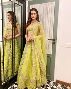 Kickstarting diwali celebrations - Kriti Sanon looks stunning in Anushree ReddySitara green tonal lehenga! Styled by Sukriti Grover for Style Cell. 04 November 2018 Buy Designer Collection Online : Call/ WhatsApp us on : Indian Bridal Lehenga, Indian Bridal Outfits, Indian Fashion Dresses, Indian Designer Outfits, Designer Dresses, Pakistani Bridal, Lehnga Dress, Nikkah Dress, Green Lehenga