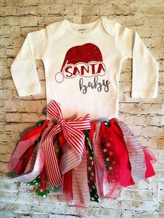 baby girl clothes christmas outfit santa by TrendiestTotsInTown