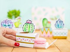 Printable Coloring Cactus and Succulents Mini Treat Boxes DIY