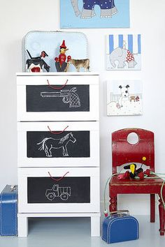 mommo design: Ikea Dresser Hacks, would be cute for extra storage anywhere! Ikea Dresser Hack, Boy Dresser, Dresser Drawers, Diy Furniture Projects, Kids Furniture, Diy Projects, Boys Nautical Bedroom, Bedroom Boys, Bedroom Red