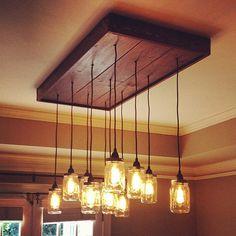 Mason Jar Chandelier - Mason Jar Light Fixture With Vintage Edison Filament Bulbs