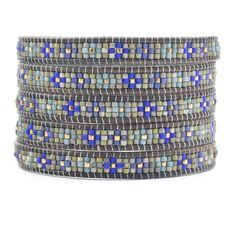 Chan Luu - Blue Mix Beaded Wrap Bracelet on Natural Grey Leather, $210.00 (http://www.chanluu.com/wrap-bracelets/blue-mix-beaded-wrap-bracelet-on-natural-grey-leather/)