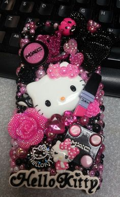 Handmade Made to Order Cell Phone Case Homemade IPhone 4 5 6 Samsung Galaxy Note 2 3 Bling Phone Cases, Cute Phone Cases, Iphone Cases, Iphone 4, Kawaii Phone Case, Diy Phone Case, Handy Case, Hello Kitty Items, Video Pink