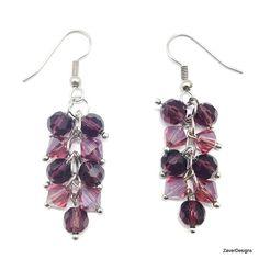 Amethyst Crystal Cluster Earrings Crystal Earrings by ZaverDesigns