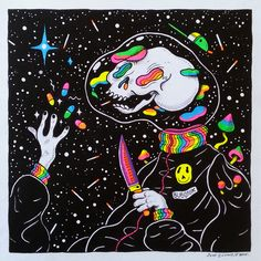 Psychonaut - Neon Sharpies, fineliner and ink on paper. Trippy Drawings, Psychedelic Drawings, Art Drawings, Hippie Painting, Trippy Painting, Tinta Neon, Psychadelic Art, Graffiti, Doodles