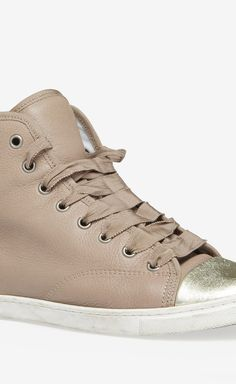 Lanvin Dust Rose Leather Hight Top Sneakers | VAUNTE