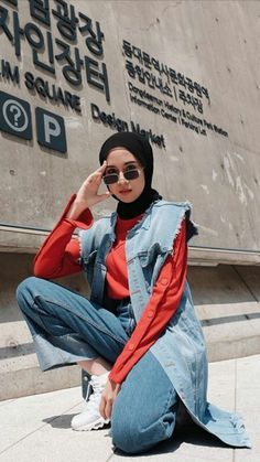 One of my favorite pieces from Collection Grab your Lizzy Vest now! Street Hijab Fashion, Muslim Fashion, Modest Fashion, Fashion Pants, Fashion Outfits, Hijab Casual, Hijab Style, Hijab Outfit, Basic Outfits