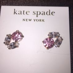"Kate Spade New rhinestone encrusted pearl earrings Brand new with tags. Kate Spade New York. gorgeous rhinestone stud cluster earrings. ""Encrusted Pearl"" pink & diamond look. Authentic. Comes with Kate Spade dust bag. kate spade Jewelry Earrings"