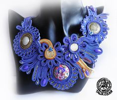 """""""Flowers"""" Blue soutache set"""