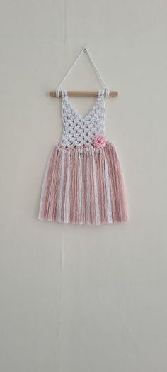 Macrame baby dress wall hanging, New baby gifts for her, Girls bedroom decor pink, Macrame baby shower, UK Seller, Free Delivery
