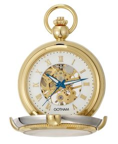 Gotham Mens Two-Tone Photo Insert Skeleton Pocket Watch with Built-in Stand # GWC14062TR