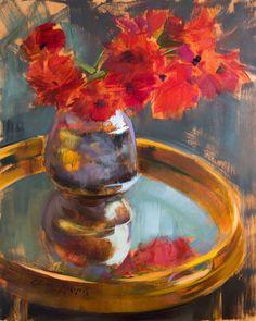 Oil Painting Flowers, Floral Paintings, Red Flowers, Flower Art, Still Life, Artsy, Delicate, Symbols, Joy