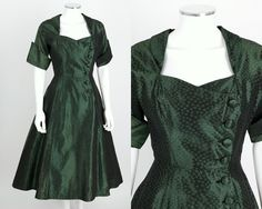 VTG 1950s DARK GREEN DOTTED TAFFETA SHORT SLEEVE DRESS OOAK SZ XS