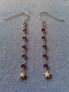 Garnet & Star Earrings