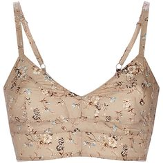 Etro Camel Floral Bra Top ($277) ❤ liked on Polyvore featuring intimates, bras, tops, etro, lingerie, underwear, white lingerie, lingerie bras, floral bra and cotton lingerie